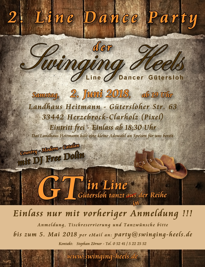 Bild: Einladung zur 2. Line Dance Party der Swinging Heels Line Dancer Gütersloh