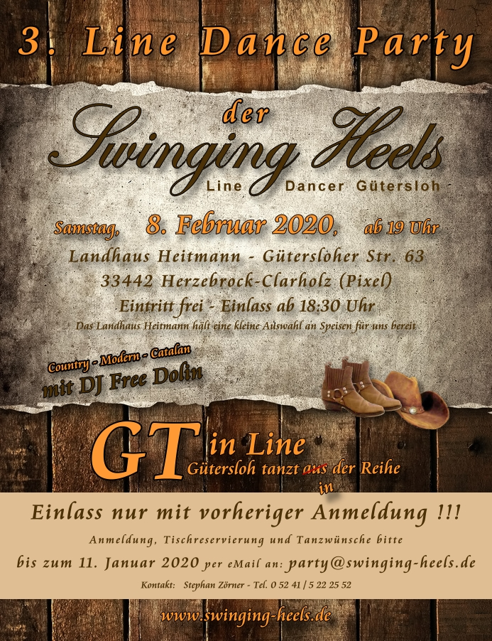 Bild: Einladung zur 3. Line Dance Party der Swinging Heels Line Dancer Gütersloh